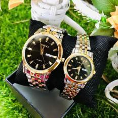 (Tặng kèm hộp và pin) Đồng hồ thời trang nam nữ Halei 2 lịch dây demi