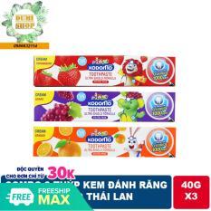 Combo 3 tuýp kem đánh răng Kodomo 40g Thái Lan dành cho trẻ em