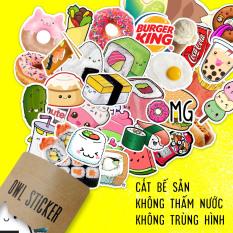 Bộ 10 – 100 hình dán food sticker Đồ ăn siêu dễ thương, nhìn là thèm – chống nước cao cấp