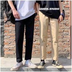 Quần Baggy Nam Nữ Kaki Ống Suông UNISEX Pants Basic, kiểu quần kaki nam quần kaki nữ thun màu đen và màu be tan chất quần baggy kaki ống đứng vải co dãn mặc thoải mái vận động quần dài kaki dáng suông Leevin Store