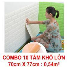 10 Tấm xốp dán tường giả gạch 3D 70x77cm. Chất liệu thân thiện môi trường, góc cạnh của xốp mềm mại hơn, an toàn cho trẻ em khi được bảo vệ bằng miếng ốp tường.