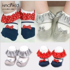 Set 2 đôi tất vớ cotton hình chiếc giày phối nơ bé gái đáng yêu