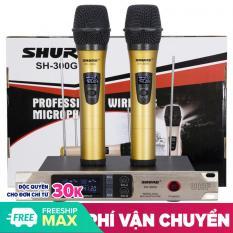 [ GIẢM GIÁ 50% ] Bộ Micro Không Dây HÁT Hay Nhất, Hát Nhạy, Chống Hú Tốt, GiÁ RẺ – BỘ 2 Micro không dây THÂN NHÔM KÈM ĐẦU THU Shure SH-300G dành cho karaoke gia đình, thiết kế bắt mắt, âm thanh dày tiếng, hút mạnh, hát cực nhẹ