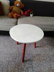 Bàn tròn trắng chân nâu sofa 50 bàn cà phê