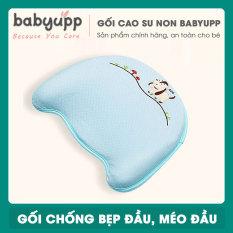 Gối cao su non cho bé Babyupp Màu Xanh. Gối chống bẹp đầu, méo đầu, móp đầu cho em bé và trẻ sơ sinh. Tặng kèm cẩm nang chăm sóc bé