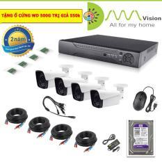 Bộ 4 camera KIT AHD 2.0M-1080P Có ổ cứng 500G,mắt KIM LOẠI chống nước,xem trên điện thoại, tivi, máy tính, XEM NGÀY ĐÊM, Lắp ngoài trời và trong nhà-Bảo hành 2 năm 1 đổi 1
