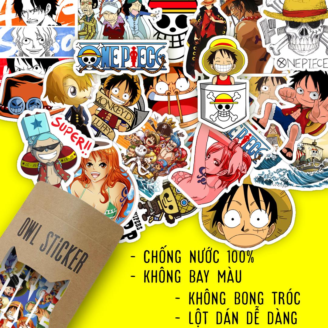 Bộ hình dán sticker pvc trang trí không thấm nước One Piece Luffy và những người bạn