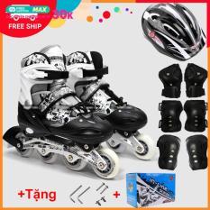 Bộ Giày Patin Longfeng 3 in 1 , giày trượt patin đầy đủ bảo hộ chân tay và mũ chính hãng tặng kèm hộp vàn bộ ốc vít màu Xanh