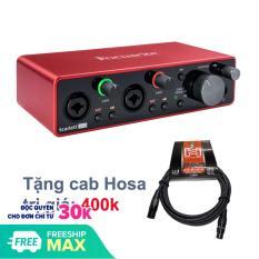 Card âm thanh Focusrite Scarlett 2i2 2×2 USB Audio Interface (3rd Generation- Gen3), tặng cabe Hosa trị giá 400k