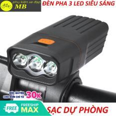 đèn xe đạp siêu sáng-đèn xe đạp 3 mắt led cao cấp tích hợp sạc dự phòng độ sáng 1000lumen