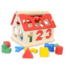 Nhà thả hình khối, số giúp bé tư duy phân biệt hình dạng màu sắc – Đồ chơi gỗ Montessori – Smart Baby- dochoigo012