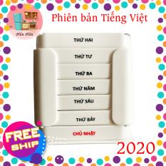 Hộp chia thuốc 7 ngày tiện lợi Tashuan TS-5317 bản tiếng việt mới nhất 2020 chia theo ngày, mỗi ngày có 4 ngăn sáng, trưa, chiều, tối. Chất liệu nhựa an toàn cho người sử dụng. Hàng Việt Nam chất lượng cao