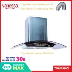Máy hút mùi kính cong Vanessa 6170g-70cm thiết kế mặt kính chống vân tay tạo thẩm mỹ cao, thân vỏ bằng chất liệu inox cao cấp