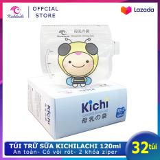 Hộp 32 Túi trữ sữa Kichilachi 120ml Hình ong – Có vòi rót tiện lợi, chất liệu PET An toàn