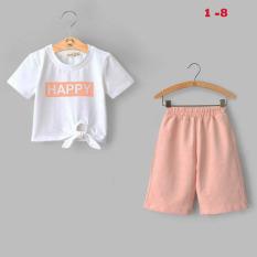 Bộ quần áo thun lửng vải cotton 4C quần da cá 2C in chữ HAPPY Nexxi Size 1 – 8