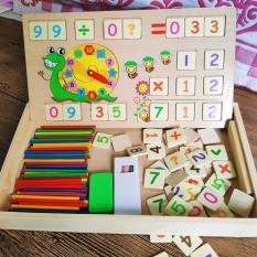 Bộ học toán thông minh – bảng ghép gỗ 2 mặt – có đồng hồ học giờ – Smart Baby – dochoigo017