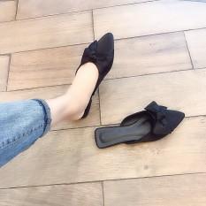 Dép Sục Nữ Nơ Màu Đen – Dép Sục Mũi Nhọn – Giày Dép Nữ Công Sở – Giày Sục Giá Rẻ Đế Thấp – Prettyfeet