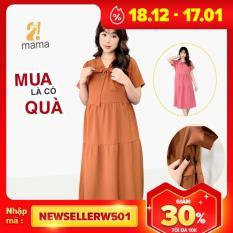 Đầm váy bầu dự tiệc 2MAMA dáng suông đẹp thiết kế thắt nơ – V08