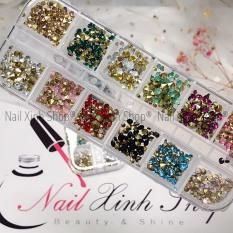 Khay nail 12 ô đá nail mix size, khay đá nail 12 màu – đa dạng size, phụ kiện nail cao cấp chuyên dụng nail salon