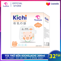 Hộp 32 túi trữ sữa Kichilachi 200ml hình Pig-Túi đựng sữa mẹ dùng 1 lần an toàn, có vòi rót tiện lợi