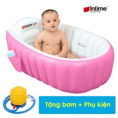 Chậu tắm, bồn tắm hơi cho bé – Bể bơi mini có ghế chống trượt kích thích phản xả bơi cho trẻ, Tặng bơm hơi (KT 98cm x 65cm x 28cm)