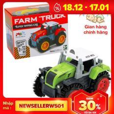 Xe ô tô đồ chơi cho bé xe tải nông trại chạy pin nhựa ABS an toàn, chi tiết sắc sảo (màu xanh bánh đỏ)