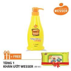 Sữa tắm gội Wesser 2 in 1 hương phấn 500ml (Màu cam) + Tặng 1 gói khăn ướt Wesser 80 tờ (Màu xanh)