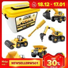 Bộ đồ chơi lắp ráp xe công trình gồm 6 xe kèm hộp đựng, tua vít, nhựa nguyên sinh kích thích tính thực hành của bé -KAVY
