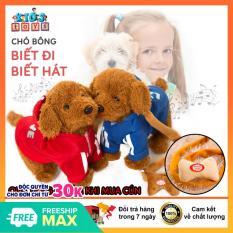 Chó nhồi bông biết đi, biết hát, đồ chơi trong phòng mô phỏng chó con, chất liệu vải cao cấp, không bám da tay