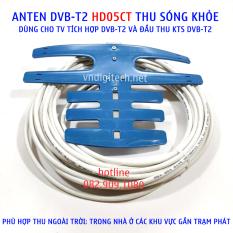 Anten DVB T2 HD05CT anten thông minh DVB-T2 thích hợp dùng ngoài trời, trong nhà. sử dụng cho tivi tích hợp, đầu thu mặt đất DVBT2 xem truyền hình miễn phí