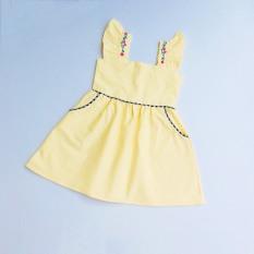 Đầm 2 Dây Cotton Cổ Vuông cá tính Vai Thêu Hoa Bé Gái BabyBean
