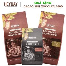 [Quà Tặng] 1kg Bột Cacao Nguyên Chất 100% – Dòng Origin thượng hạng (2 túi 500g) – Tặng 1 túi bột cacao 3in1 Xocolatl Classic 200g – Heyday Cacao