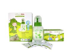Bình rửa mũi Dr.Green Kids, kèm 30 gói muối, đầu rửa silicon, dành cho trẻ từ 1 tuổi, điều trị viêm mũi, sổ mũi, viêm xoang