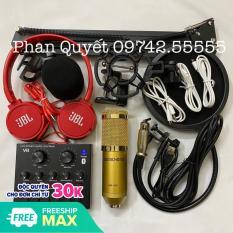 Combo bộ hát thu âm caocấp V8 bluetooth mic BM-900 hát cực hay livestream micro kèm chân kẹp màng lọc tặng tai nghe J-08