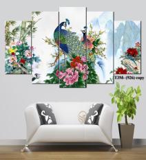 Bộ 5 tấm tranh treo tường Chim Công T3M-926 /Gỗ nhập khẩu Hàn Quốc-Bo viền,chống lóa,ẩm mốc,mối mọt