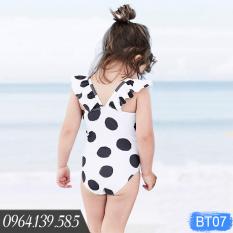 Bộ bơi liền thân chấm bi đẹp cho bé gái, có kèm mũ, size từ 8kg | BT07