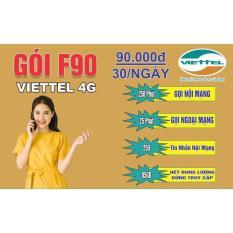 Sim 4G Viettel F90 Nghe Gọi Miễn Phí , 4G Thoải Mái