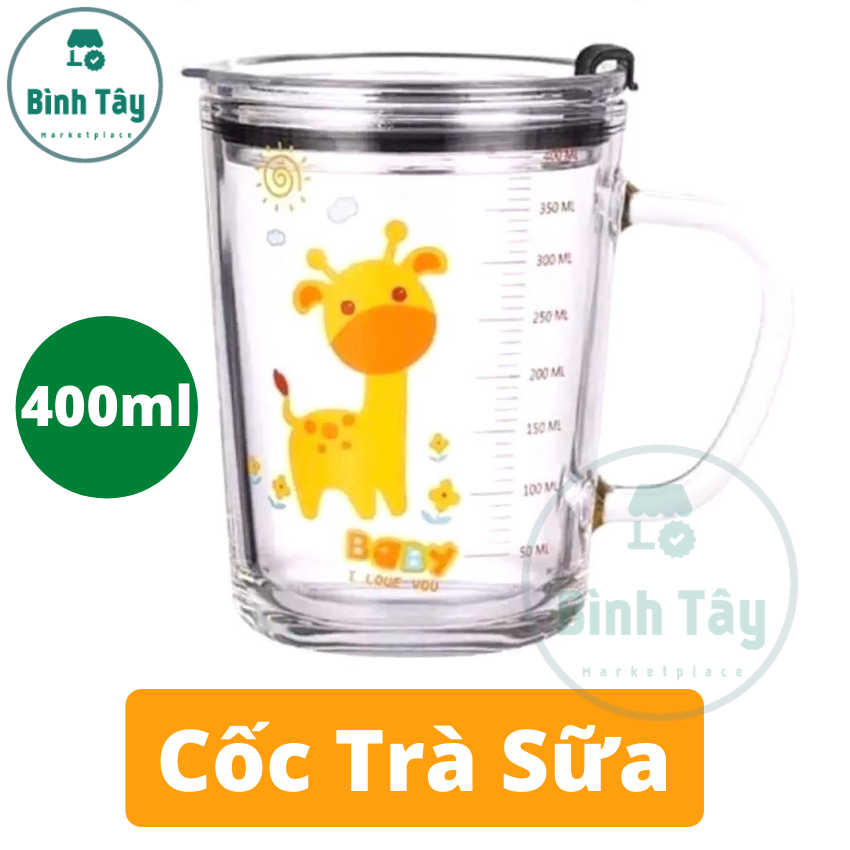 Cốc thuỷ tinh – Ly chia vạch thuỷ tinh thích hợp pha sữa cho em bé (TẶNG nắp + ống hút) BT-C016