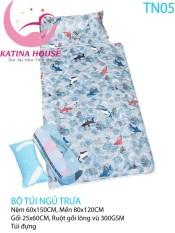Túi ngủ cho bé (4-12t) 👣 Bộ 3in1 chăn gối nệm cho bé mầm non, tiểu học