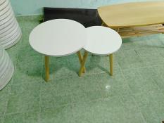 Cặp bàn tròn trắng mini sofa phòng khách 50-40