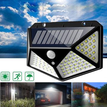 Đèn Năng Lượng Mặt Trời 100 LED, Đèn Tường Cảm Biến Hồng Ngoại Chuyển Động 3 Chế Độ Bật Tắt...
