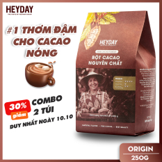 Bột cacao nguyên chất 100% Heyday – Dòng origin thượng hạng 18% bơ cacao tự nhiên – Túi 250g – Không đường không phụ gia không hương liệu – Chuẩn UTZ Quốc Tế