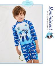 bộ đồ bơi bé trai 3 món ( có nón) họa tiết Poli màu xanh , hàng QC