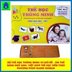 Bộ thẻ học thông minh FlashCard song ngữ Anh – Việt cỡ to 18chủ đề (288thẻ) dạy họccho bé từ 0-6 tuổi theo phương pháp giáo dục Glenn Doman, phát triển trí thông minh, não bộ cho trẻ [PANSO Store]