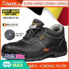 Giày bảo hộ lao động nam Jogger Bestrun S3 da bò thật, chống nước, giày bảo hộ chuẩn S3 Châu Âu