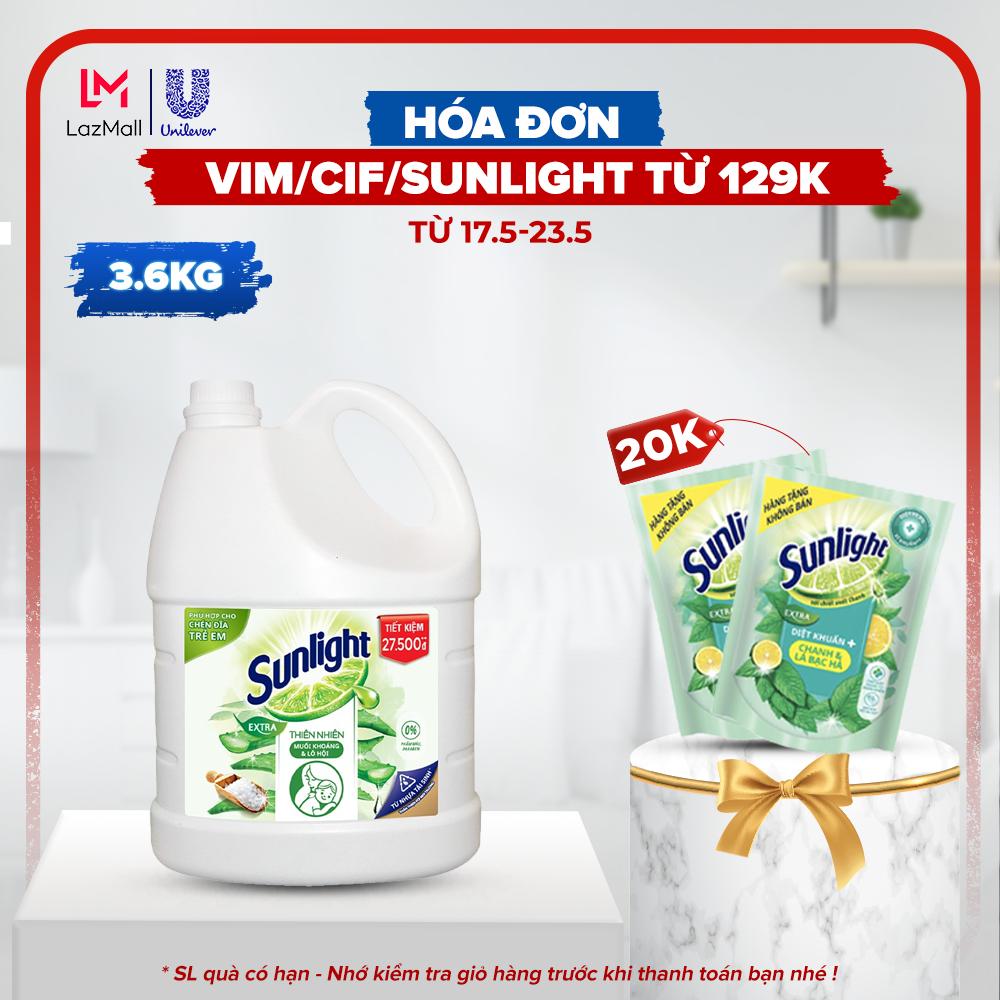 Nước rửa chén Sunlight Thiên Nhiên an toàn cho chén đĩa trẻ em với chiết xuất Lô Hội và Muối khoáng chai 3.6kg