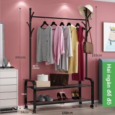 (MIỄN SHIP TOÀN QUỐC)Giá treo quần áo nhiều chức năng bằng sắt rộng 150cm cao 165cm Cây treo túi Cây treo mũ Kệ để giày dép Kệ để túi