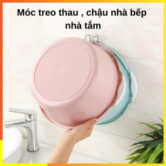 Móc treo thau chậu , móc treo đồ inox SOTY MC-019 Dán tường , không cần khoan dùng cho nhà bếp, phòng tắm chịu lực