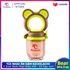 Túi nhai ăn dặm Kichilachi chống hóc hình gấu,An toàn không BPA, có 3 núm nhai và kẹp xích