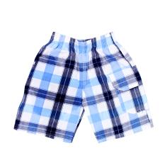 Quần ngố kẻ caro vải cotton kaki bé trai từ 26-37kg hàng chất lượng bận nhà bận đi dạo phố